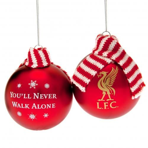 Twin Pack Of Liverpool Large Christmas Tree Baubles