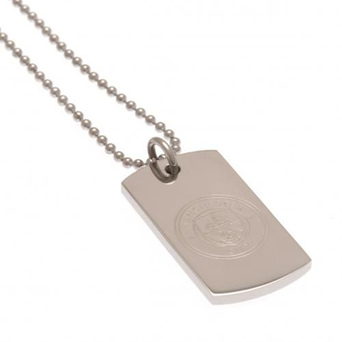Manchester City Engraved Dog Tag & Chain | MCFC Merchandise [ Football Gifts }